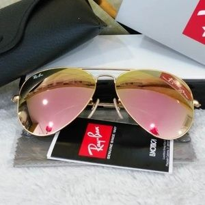 Ray bans aviators rose gold sunglasses 58mm